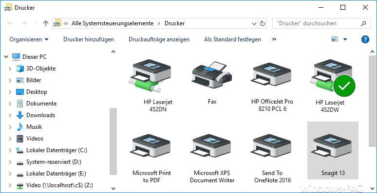 Systemsteuerungselemente Drucker