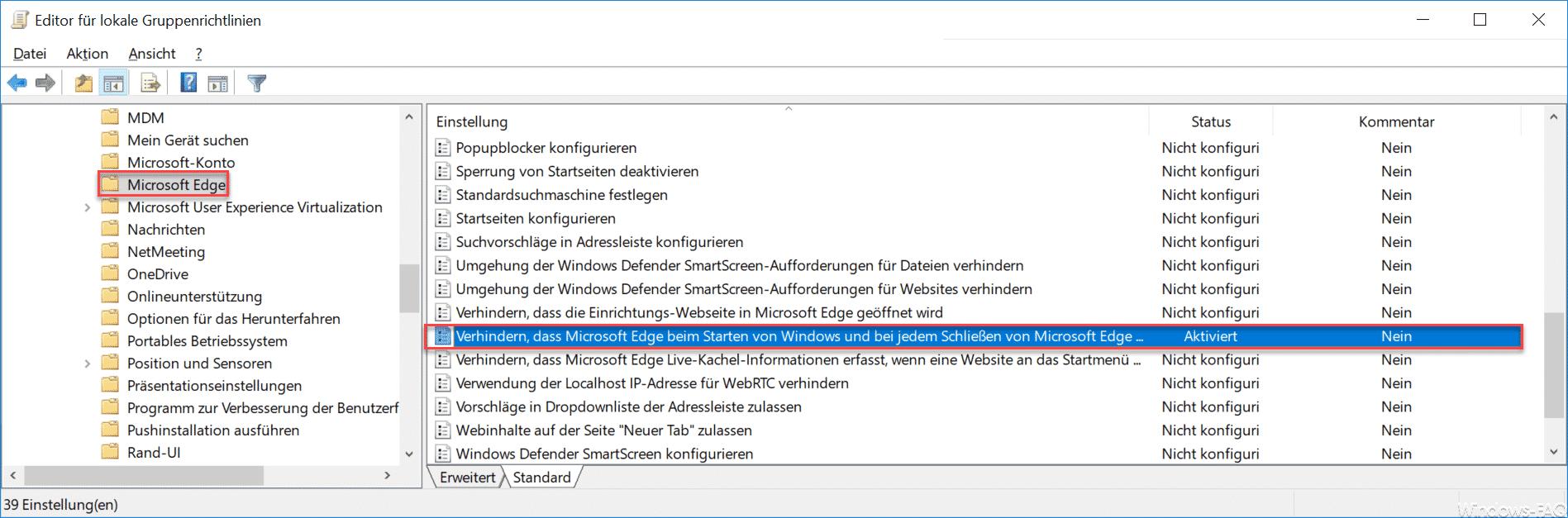 """Verhindern, dass Microsoft Edge beim Starten von Windows und bei jedem Schließen von Microsoft Edge die Startseite und die Seite """"Neue Registerkarte"""" startet und lädt."""