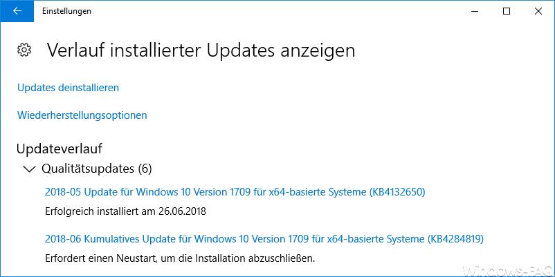 Verlauf installierter Updates anzeigen