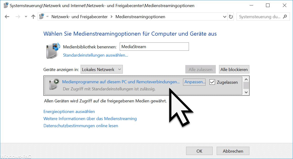 Wählen Sie Medienstreamingoptionen für Computer und Geräte aus