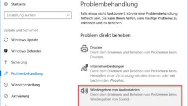 Audioprobleme beseitigen und Audiotreiber neu starten unter Windows 10