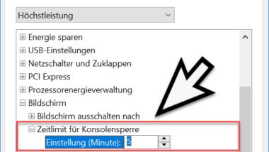 Ausschalten des Bildschirms im Windows 10 Sperrbildschirm konfigurieren