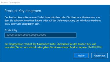Windows Aktivierungsfehler 0xC004F034