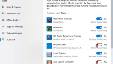 Autostart von Apps konfigurieren bei Windows 10