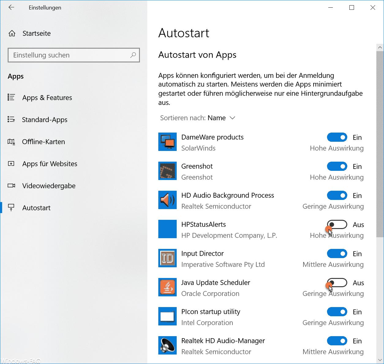 Autostart von Apps