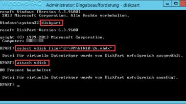 VHD oder VHDX Datei in Windows 10 einbinden