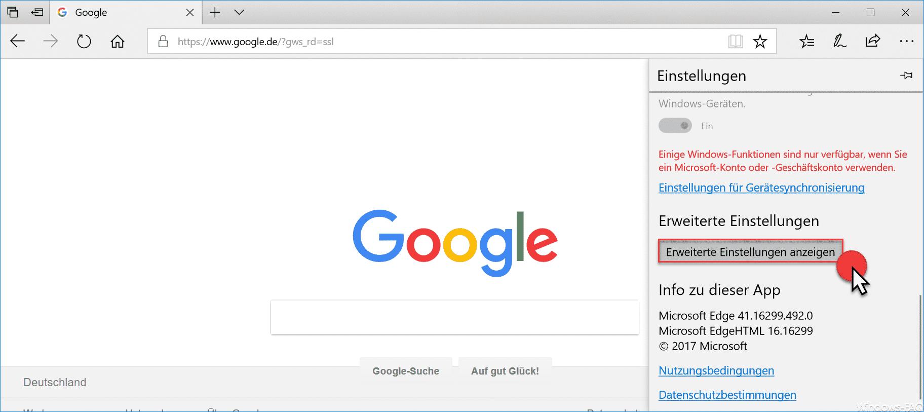 Edge Browser Erweiterte Einstellungen anzeigen