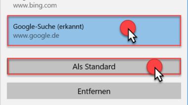 Standardsuchmaschine im Microsoft Edge ändern