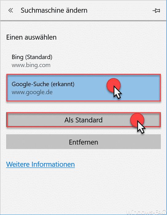 Edge andere Suchmaschine als Standard