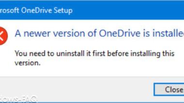 Eine neuere Version von OneDrive ist installiert…