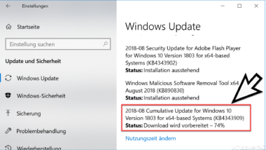 Update KB4343909 für Windows 10 Version 1803 Build 17134.228 Download