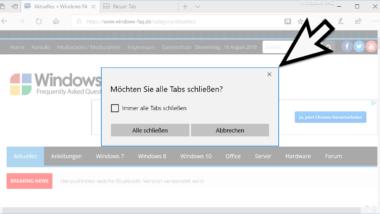 """Abfrage """"Möchten Sie alle Tabs schließen"""" im Edge Browser wieder aktivieren"""