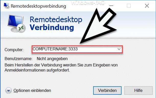 MSTSC Portnummer mit angeben