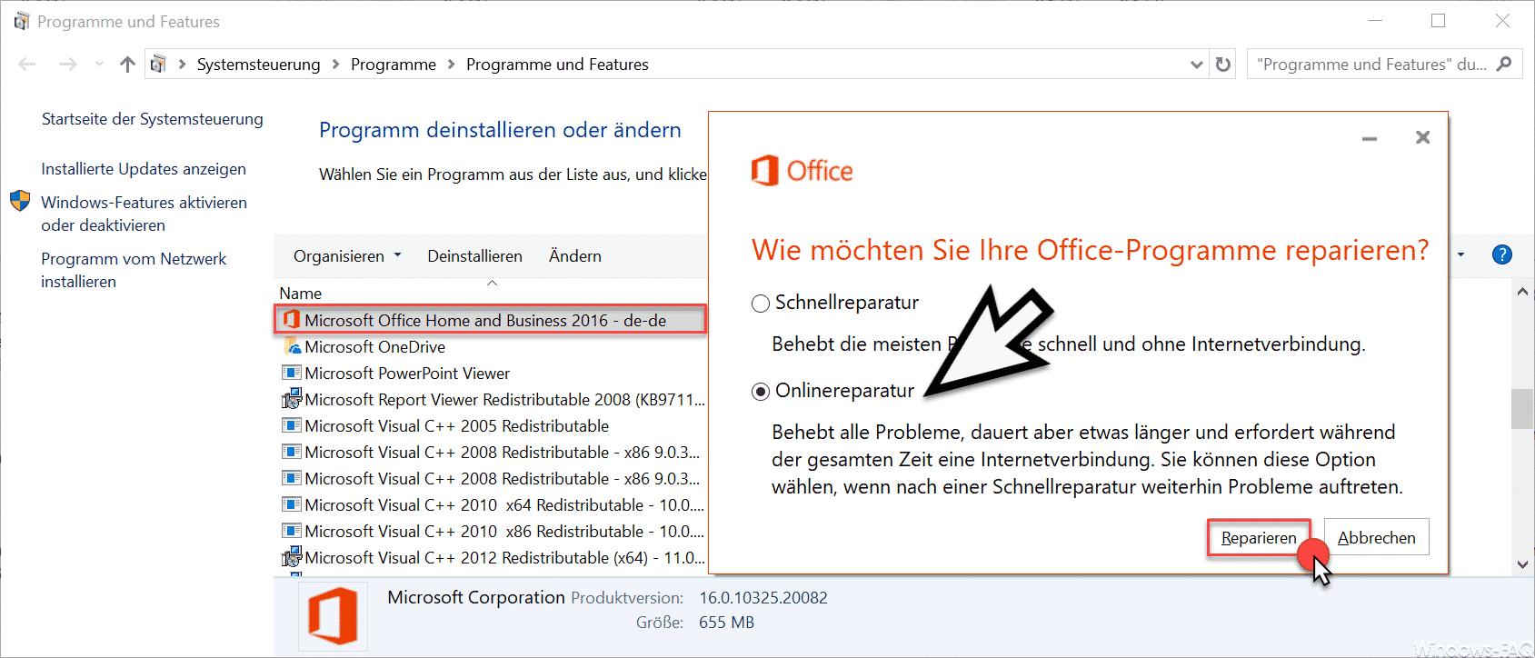 Office online reparieren