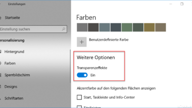 Transparenz der Windows Apps bei Windows 10 ein- oder ausschalten