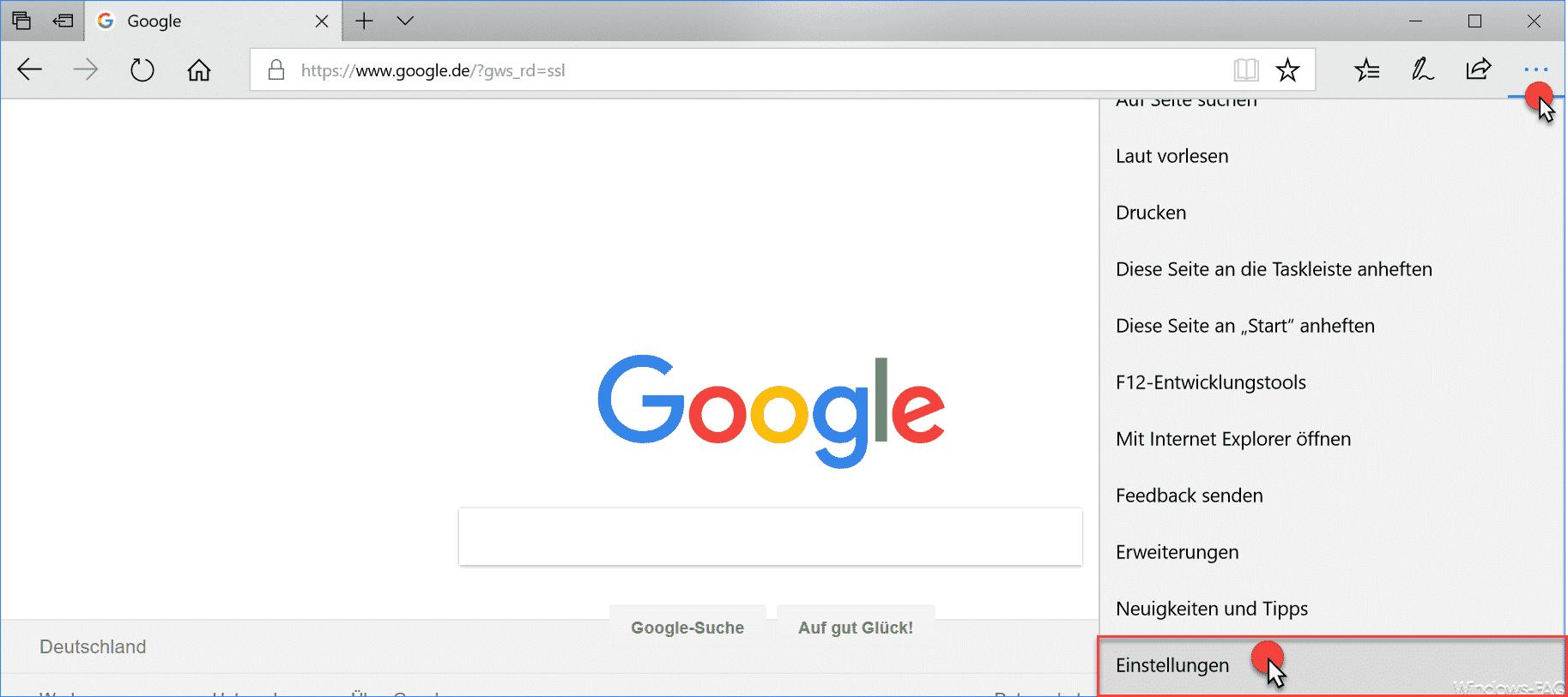 Windows Edge Einstellungen