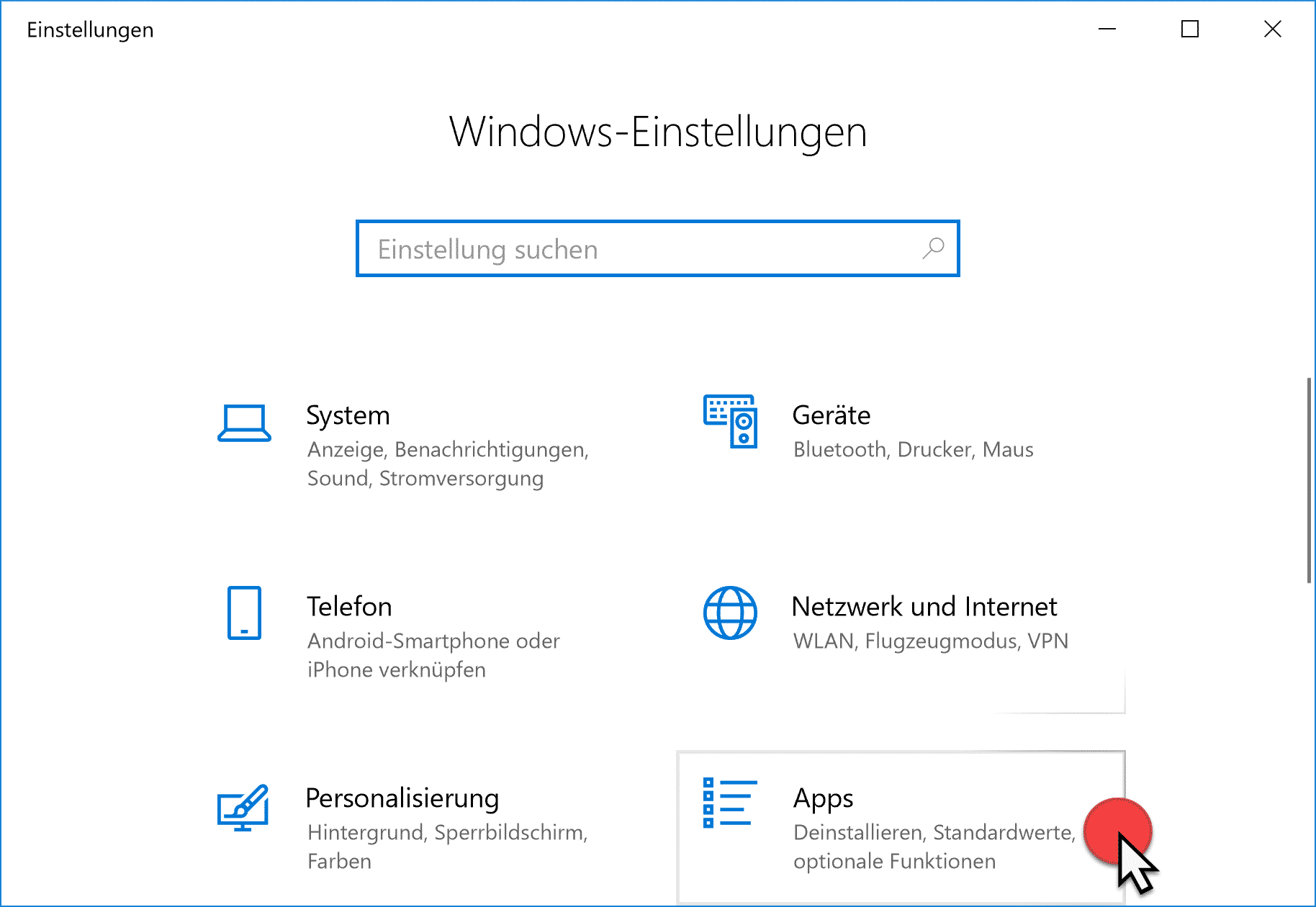 Apps Deinstallieren Standardwerte und optionale Funktionen