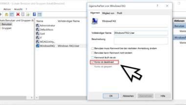 Benutzerkonto deaktivieren unter Windows 10