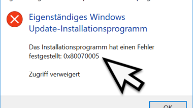 Das Installationsprogramm hat einen Fehler festgestellt 0x80070005