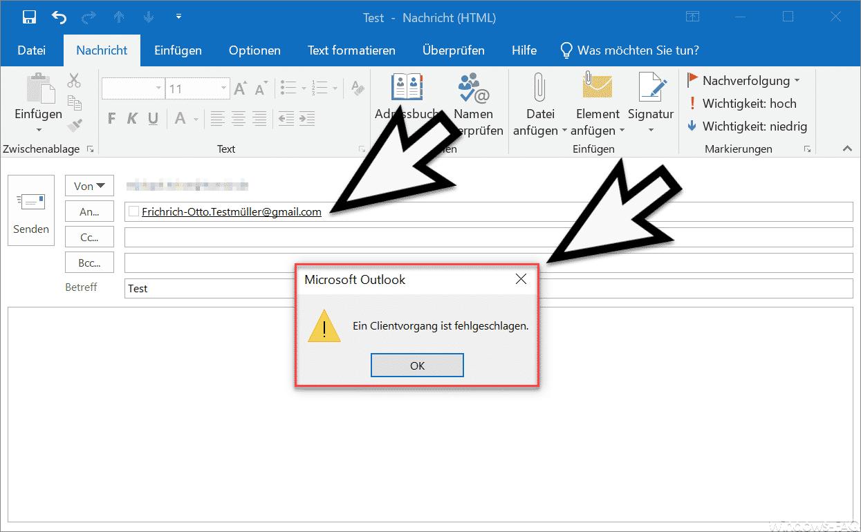 Ein Clientvorgang ist fehlgeschlagen
