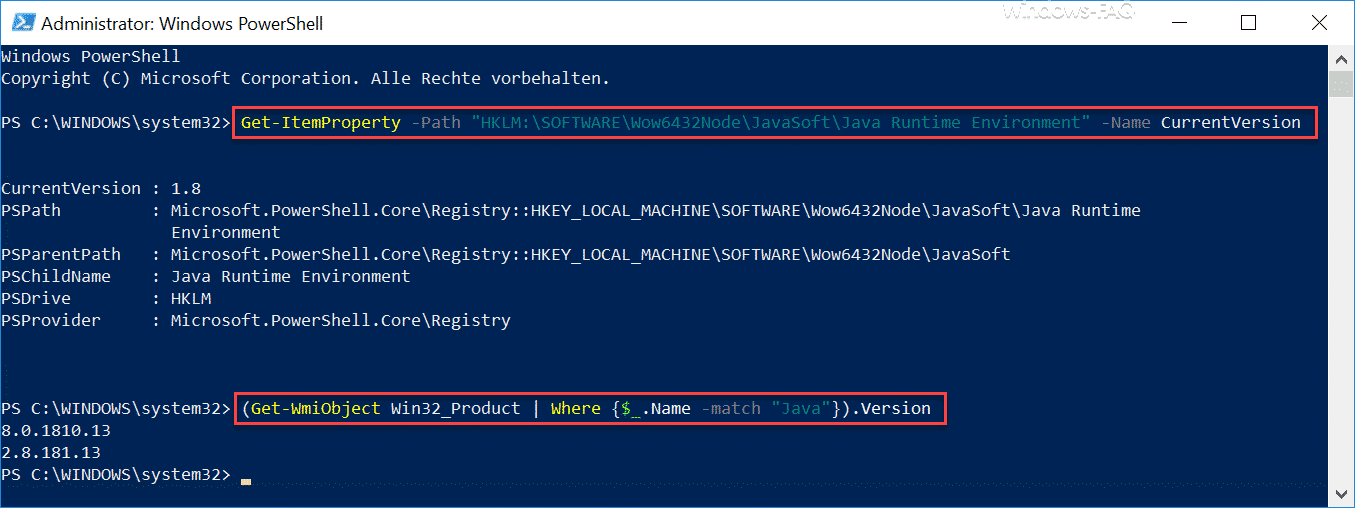 Java Version PowerShell