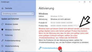Windows kann auf diesem Gerät nicht aktiviert werden. Aktivierungs-Fehlercode 0xC004C003