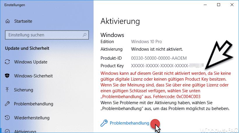 Windows kann auf diesem Gerät nicht aktiviert werden. Fehlercode 0xC0004003