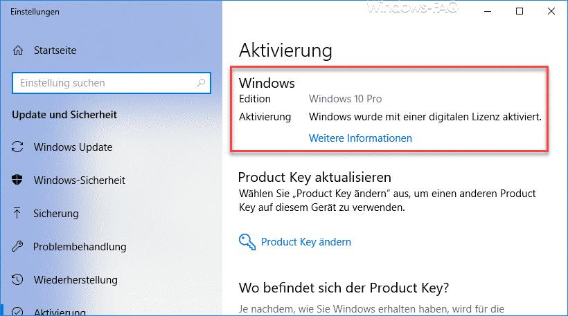 Windows wurde mit einer digitalen Lizenz aktiviert.