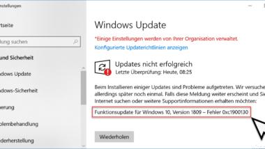 Fehlercode 0xc1900130 beim Windows Update