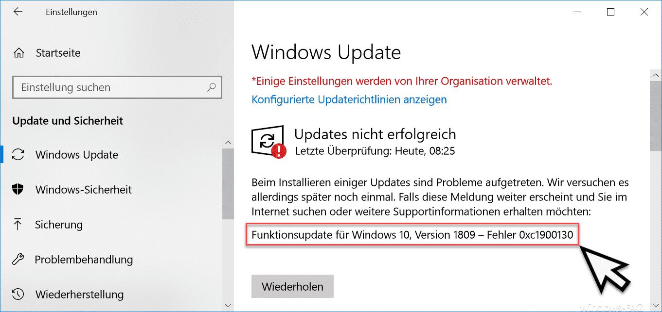 Fehlercode 0xc1900130 beim Windows Update » Fehlercode, Update