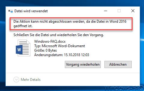 Die Aktion kann nicht abgeschlossen werden, da die Datei geöffnet ist.