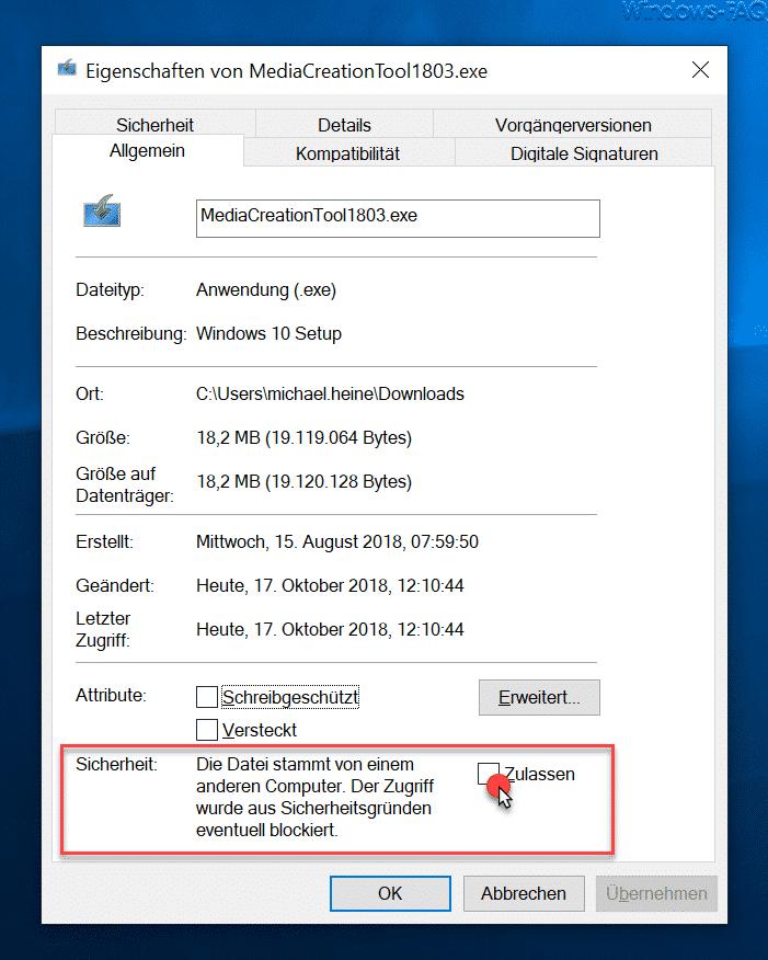 Die Datei stammt von einem anderen Computer. Der Zugriff wurde aus Sicherheitsgründen eventuell blockiert.