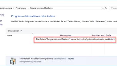 """Zugriff auf """"Programme und Features"""" verhindern"""