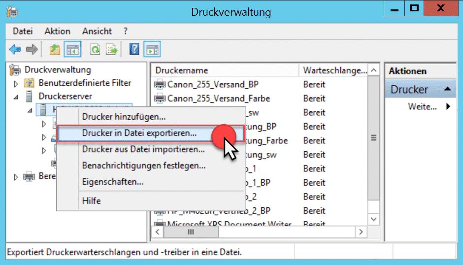 Druckverwaltung Drucker in Datei exportieren...