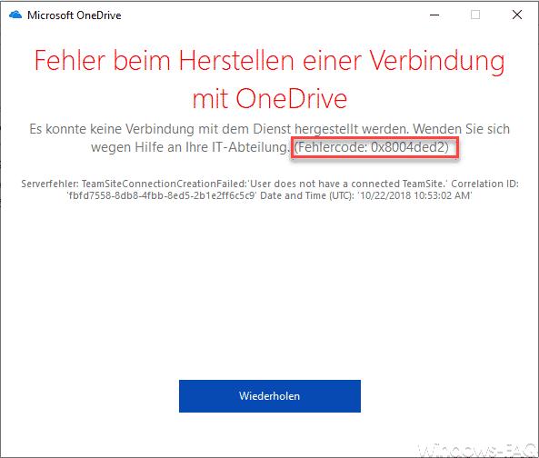 Fehler beim Hersteller einer Verbindung mit OneDrive
