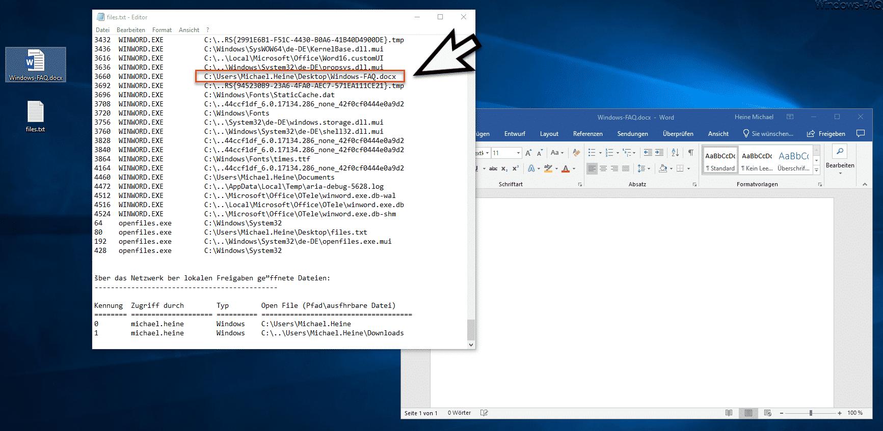 Geöffnete Dateien unter Windows