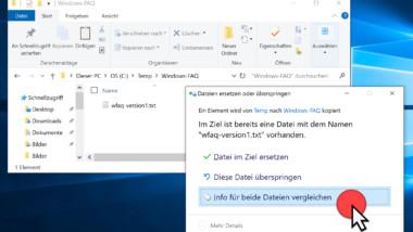 Im Windows 10 Explorer Kopieren aber beide Dateien behalten