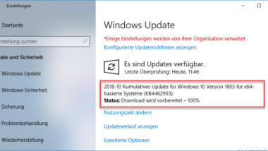 Download Update KB4462933 für Windows 10 Version 1803 Build 17134.376