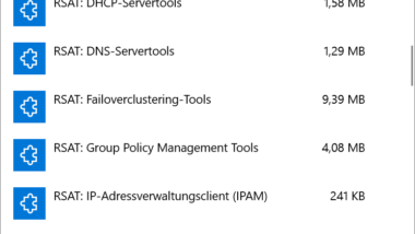 RSAT Tools installieren bei Windows 10 Version 1809 per Windows Einstellungs-App