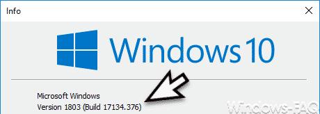 Version 1803 Build 17134.376