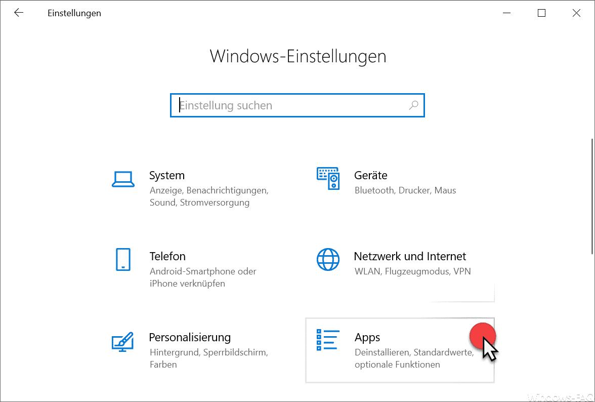 Windows Einstellungen Apps