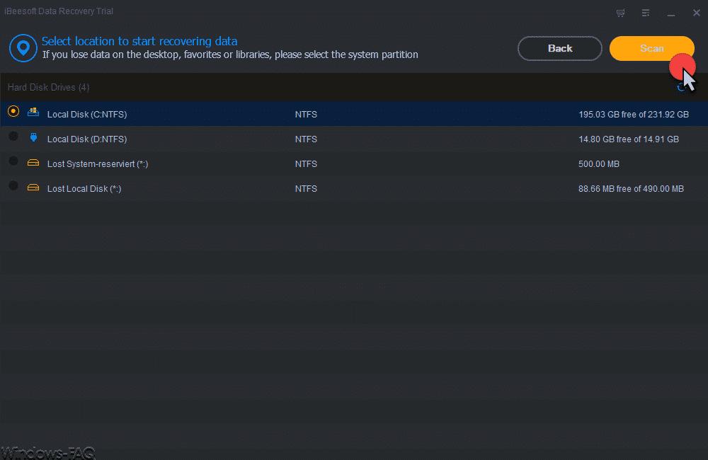 iBeeSoft Data Recovery Wizard Anzeige Laufwerke