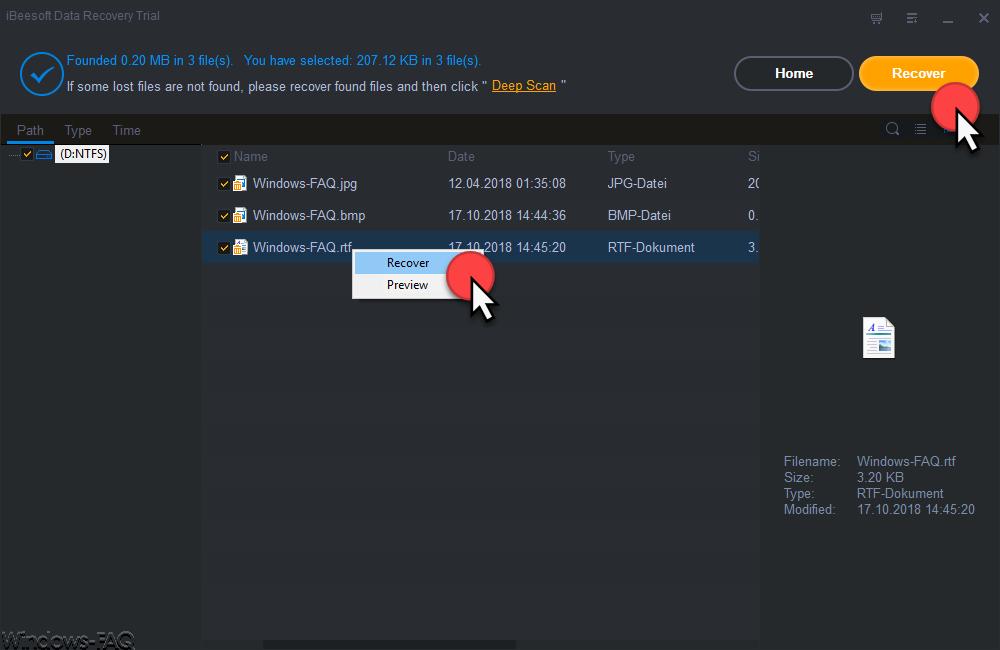 iBeeSoft Data Recovery Wizard Recover einzelne Datei