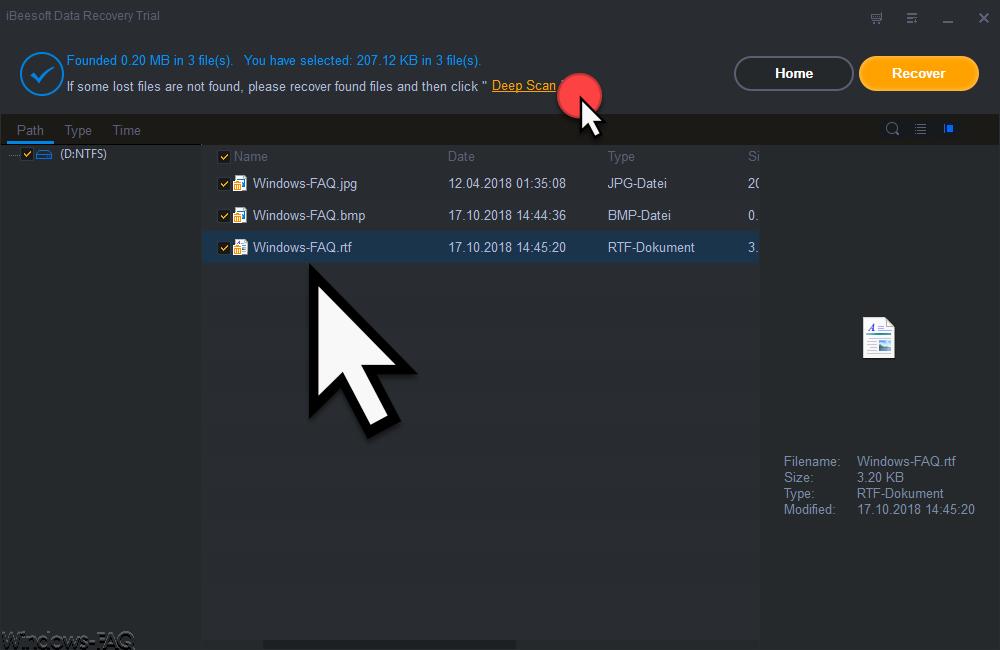 iBeeSoft Data Recovery Wizard gefundene gelöschte Dateien