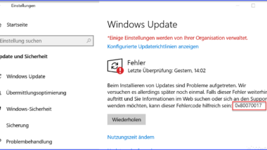0x80070017 Fehlercode beim Windows Update