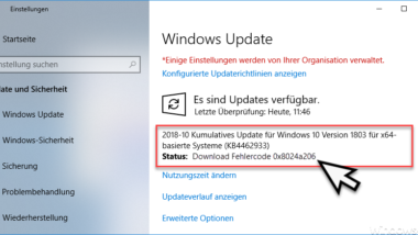 Windows Update Fehlercode 0x8024a206
