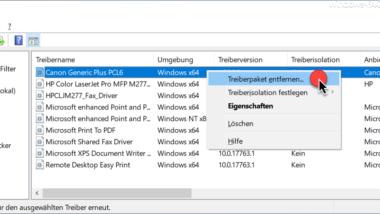 Druckertreiber deinstallieren bei Windows 10