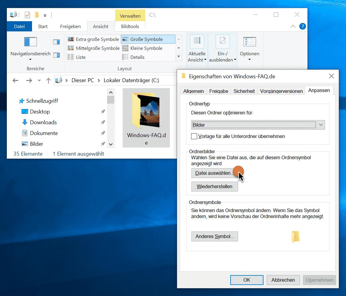 Explorer Ordnerbilder Datei auswählen