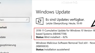 Download Update KB4467708 für Windows 10 Version 1809 Build 17763.134