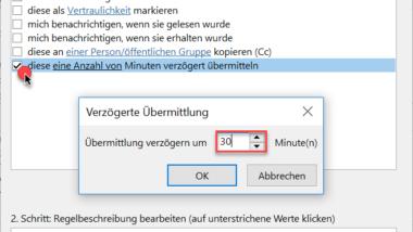 Im Outlook den E-Mail Versand verzögern